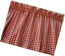 Red and White Check Valance Curtain Window Treatment for