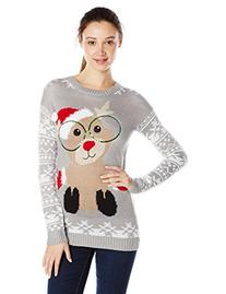 Junior's Reindeer Jacquard Tunic Pullover Ugly Christmas