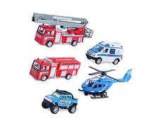 Set of 5 Rescue Diecast Police Firetruck Pullback Vehicles