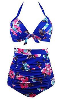 Cocoship Retro 50s Blue Red Floral Halter High Waist Bikini