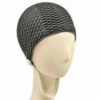 Retro Bubble Crepe Swim Bathing Cap with Chin Strap - Black
