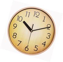 JustNile Home Wall Clock – Silent Retro Round Classic 10 Inch Wood Brown Clock for Office & School