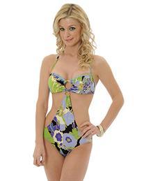 Womens Retro Floral Print 1 Piece Monokini Swim Suit with