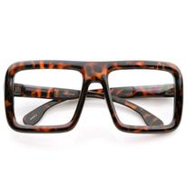 zeroUV - Large Retro-Nerd Bold Thick Square Frame Clear Lens