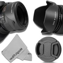 58MM Reversible Tulip Lens Hood + 58MM Center-Pinch Lens Cap