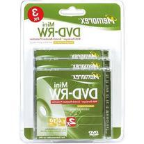 Memorex 2x Rewritable Mini DVD-RW Blister Pack - 3 Pack