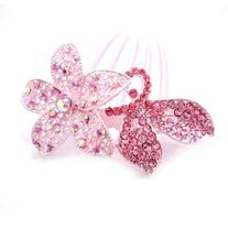 Rhinestone hair jewelry, hollow pattern alloy hair comb,