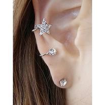 Rhinestone Embellished Star Ear Cuff and Stud Earring