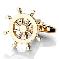 INBLUE Men's 2 PCS Rhodium Plated Cufflinks Gold Tone Helm