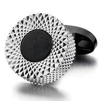 INBLUE Men's 2 PCS Rhodium Plated Cufflinks Silver Black