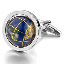 INBLUE Men's Rhodium Plated Cufflinks Silver Blue Globe