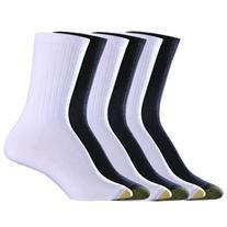 Ladies GOLDTOE 6pk. Rib Crew Socks 9-11, Grey