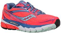 Saucony Women's Ride 8 Running Shoe, Coral/Blue/Sea, 6.5 M