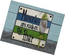 RIVER FISH Reclaimed Pallet Wall Style Home Decor Sign -