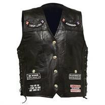 Diamond Plate Rock Design Genuine Buffalo Leather Vest- Lg