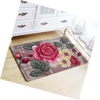 Romantic Decorative Red Rose Pattern Doormat Bath Mat Floor