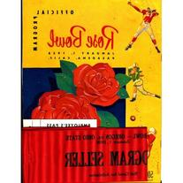 Rose Bowl 1958 Official Program w/ Employee's Pass, Ticket
