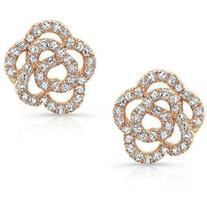 14KT Rose Gold Diamond Floral Stud Earrings