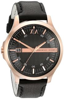 Armani Exchange Rose Gold-Tone Leather Mens Watch AX2129