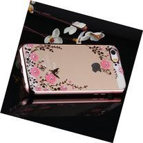 IKASEFU Rose Golden Frame Case for iPhone 5SE/5S/5,Luxury
