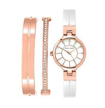 Anne Klein® Rose Goldtone Enamel Crystal Bangle Watch