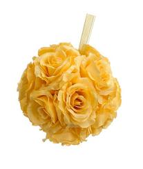 "6"" Rose Kissing Ball Yellow"
