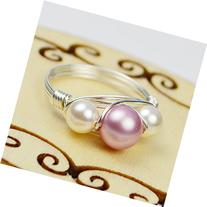 Rose Pink and White Swarovski Crystal Pearl Beads and