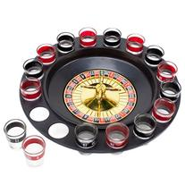 Roulette Drinking Game with 16 Black and Red Shot Glasses by