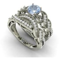 Diamondere Round Aquamarine VS Diamond 14k White Gold Bridal