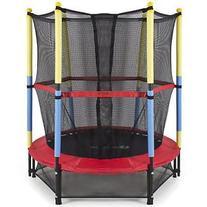 "55"" Round Kids Mini Trampoline w/ Enclosure Net Pad"