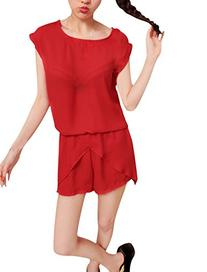 Ladies Round Neck Batwing Sleeved Blouse With Elastic Waist