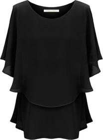 Andyshi Women's Large Size Round Neck Chiffon Blouse Dress