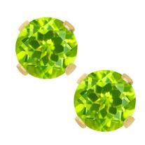 1.00 Ct Round Peridot 14K Yellow Gold Stud Earrings 5mm