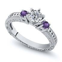 0.70 Ct Round Purple Amethyst G/H Diamond 925 Sterling