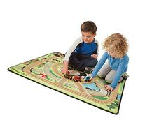 Melissa & Doug Round the Rails Train Rug With 3 Linking Wooden Train Cars