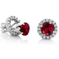 2.00 Ct Round 6mm Red Created Ruby 925 Silver Removable