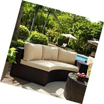 Crosley Catalina Outdoor Wicker Round Sectional Sofa with