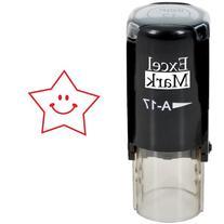 Round Teacher Stamp - HAPPY STAR - RED INK