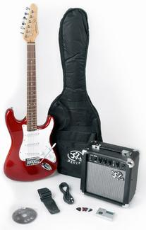 RST CAR LH Left Handed Red Electric Guitar Package with Full