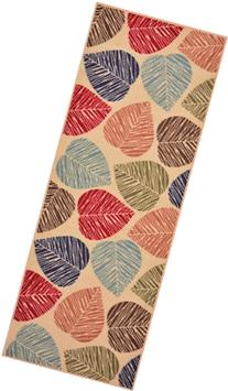 Rubber Collection Leaves Beige Multi-Color Printed Non Skid