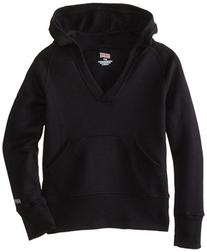 Soffe Big Girls' Rugby Deep V Hoodie, Black, Small