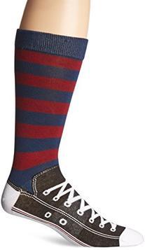 K. Bell Socks Men's Rugby Sneaker Sock, Red/Navy, 10-13/6-12
