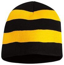 Sportsman Rugby Striped Knit Beanie, One Size, Black/ Gold