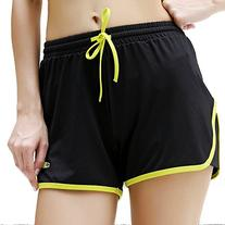 Women's Running Sports Shorts #8027, Black/Lime Green, XL
