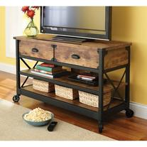 Rustic Country Antiqued Black/pine Panel Tv Stand for Tvs up