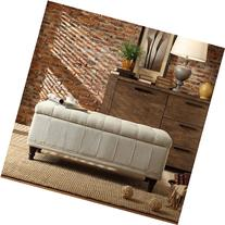 INSPIRE Q Rustic Sand Upholstered Tufted Storage Ottoman
