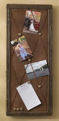 Rustic Twig & Faux Suede Message Board