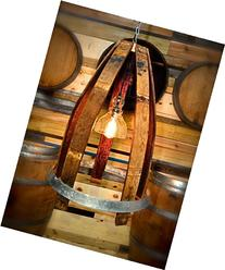 Wine Barrel Light with Seeded Glass and Edison Bulb