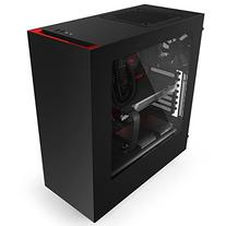 NZXT S340 Mid Tower Computer Case,  Matte Black/Red