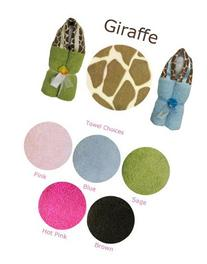 Swankie Blankie Sage Hooded Towel with Minky Giraffe Print